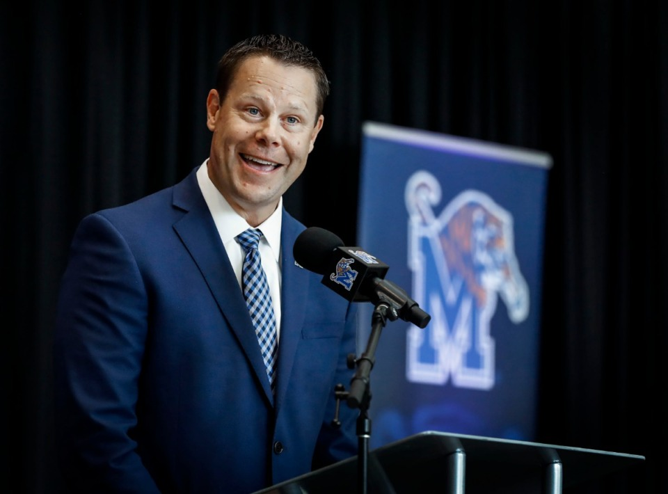 <strong>The University of Memphis&rsquo; new athletic director, Laird Veatch, was introduced during a press conference at the Laurie-Walton Family Basketball Center on Tuesday, Aug. 13.</strong> (Mark Weber/Daily Memphian)