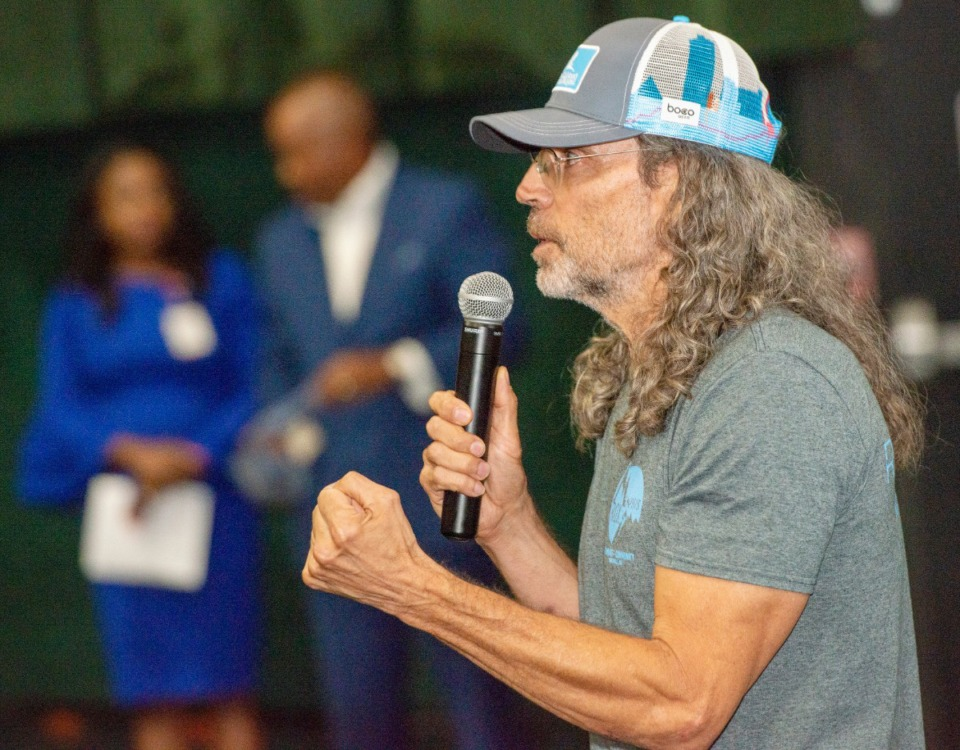 "<strong>Tom Shadyac, director of ""Brian Banks,"" speaks to an audience of teens prior to a screening of the movie Tuesday, Aug. 13, 2019, at the Malco Paradiso. Teens were invited from across the city to watch the movie and participate in a panel discussion on social justice.</strong> (Greg Campbell/Special to The Daily Memphian)"