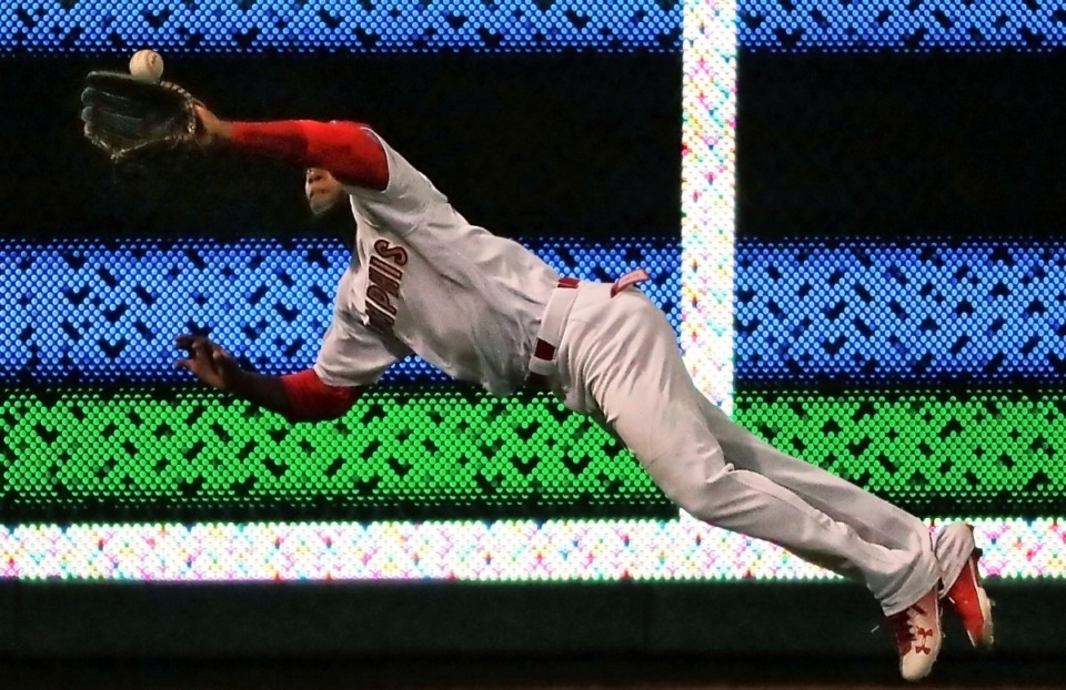 <strong>Randy Arozarena dives for a catch in left field during game four of the Redbird's Pacific Coast League series against Fresno at AutoZone Park on Sept. 15, 2018.</strong> <strong>This week the outfielder from Cuba&nbsp;was called up to the Cardinals.&nbsp;</strong>(Jim Weber/Daily Memphian file)