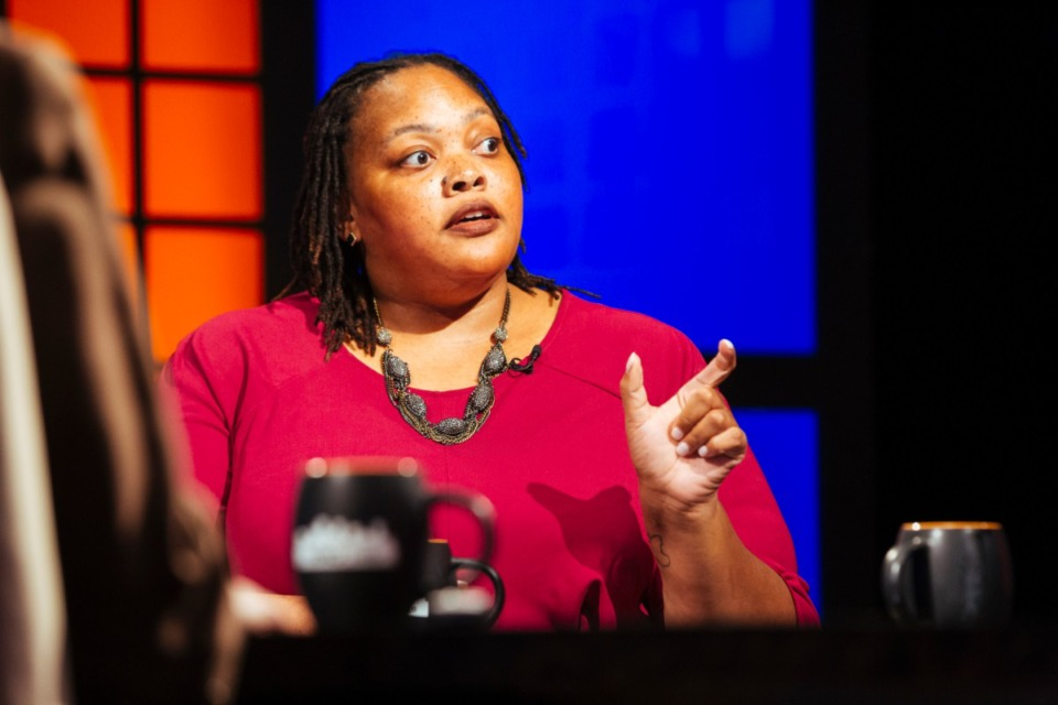 <strong>Mayoral Candidate Tami Sawyer speaks during the 'Behind the Headlines' television broadcast at WKNO broadcast station on Aug. 15, 2019.</strong> (Ziggy Mack/Special to The Daily Memphian)