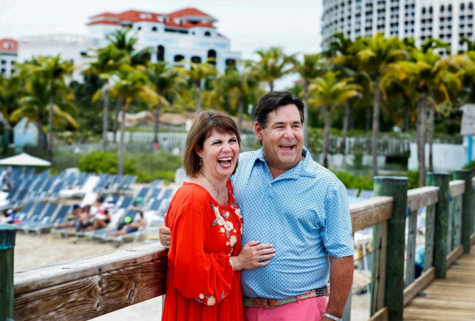 <strong>Charae Manus (left) smiles along with her new fianc&eacute;, Bryan Krauch, moments after getting engaged on the pier at the Grand Hyatt Baha Mar Resort in Nassau, Bahamas, on Thursday, Aug. 15, 2019. The couple are in the Bahamas to watch Krauch's beloved Tigers play.</strong> (Mark Weber/Daily Memphian)