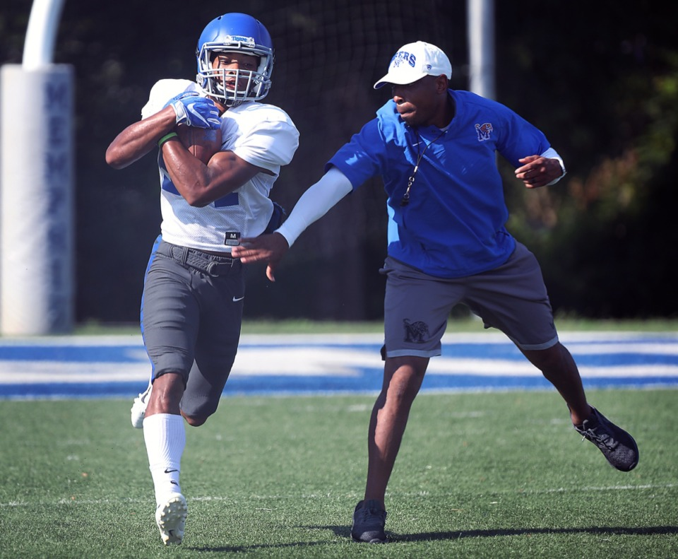 <strong>University of Memphis wide receiver Calvin Austin III (84) seen here at an Aug. 14 practice, is putting his speed to use in both track and football.</strong>&nbsp;(Patrick Lantrip/Daily Memphian)