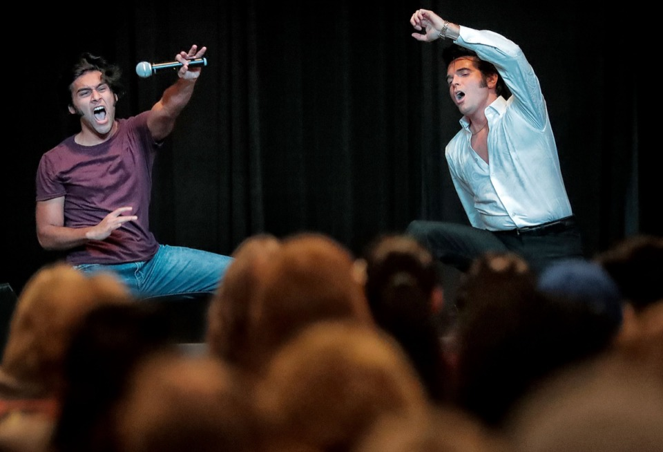 <strong>Elvis Presley tribute artists Cote Deonath (left) and Dean Zeligman perform at the Graceland Exhibition Center on Aug. 15, 2019.</strong> (Jim Weber/Daily Memphian)