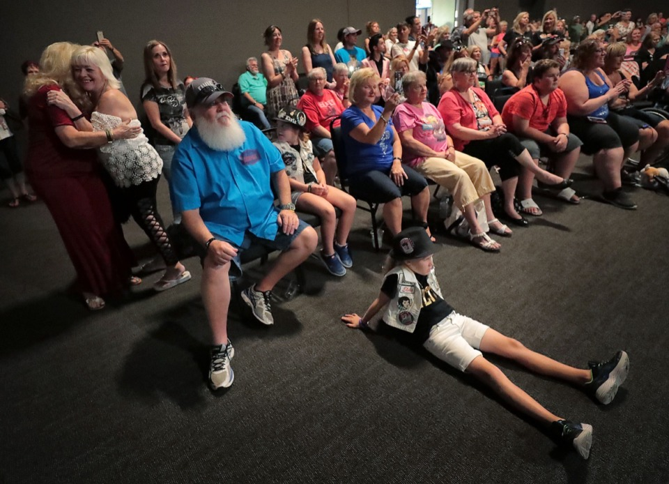 <strong>The crowd gets into the spirit during Elvis Presley tribute artist Dean Zeligman's performance at the Graceland Exhibition Center on Aug. 15, 2019.</strong> (Jim Weber/Daily Memphian)