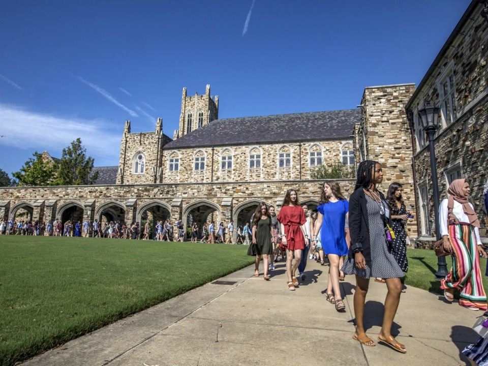 """<span><strong>Rhodes College held Opening Convocation on Friday, Aug. 16, with 49% of freshmen ranking in the top 10 percent of their class. """"This class in particular will be one of the most talented in the college's long history,"""" said Carey&nbsp;Thompson, vice president for enrollment and communications and dean of admission.</strong>&nbsp;(Courtesy Rhodes College)</span>"""