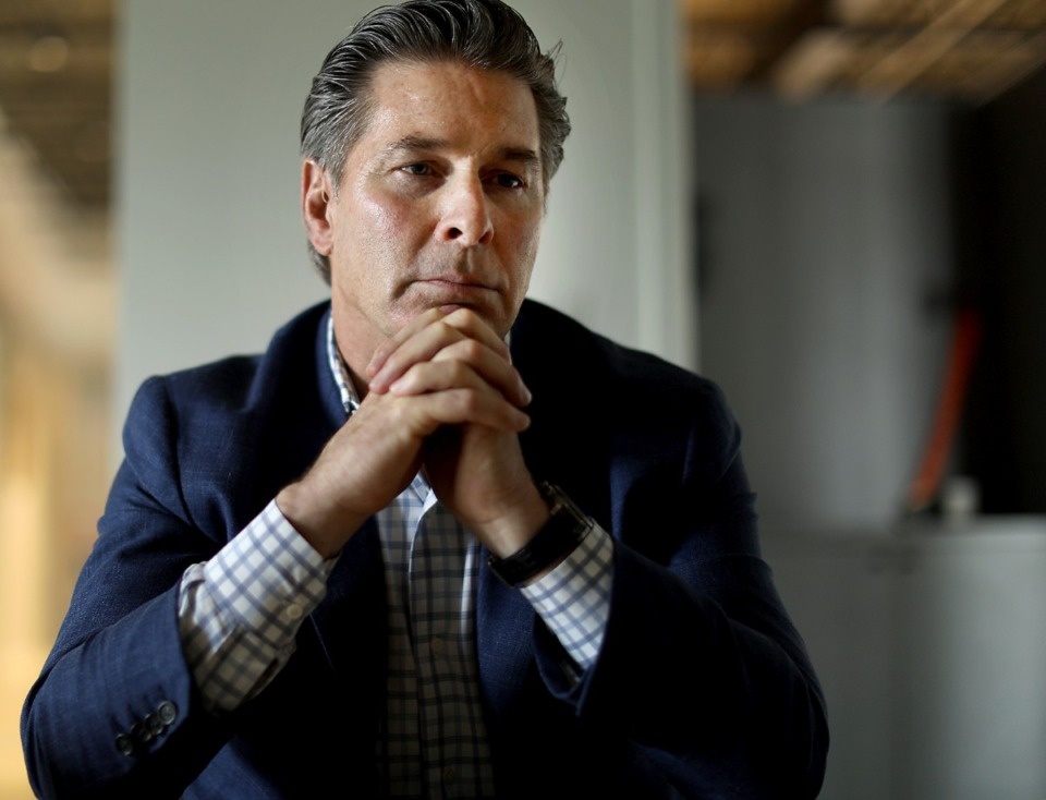 <strong>Kevin Adams discusses his planned Union Row development and his past business dealings at the Midtown office of Loaded for Bear, a public relations firm.</strong> (Patrick Lantrip/Daily Memphian)