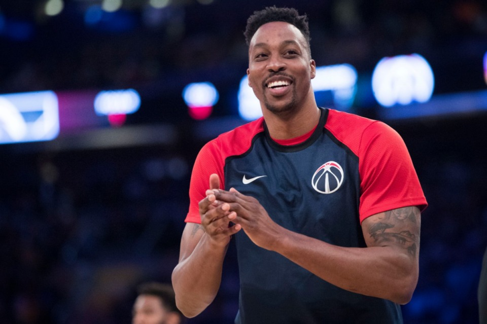 Washington Wizards center Dwight Howard reacts from the bench during the second half of an NBA basketball game against the New York Knicks, Sunday, April 7, 2019, at Madison Square Garden in New York. The Knicks won 113-110. <strong>(AP Photo/Mary Altaffer)</strong>