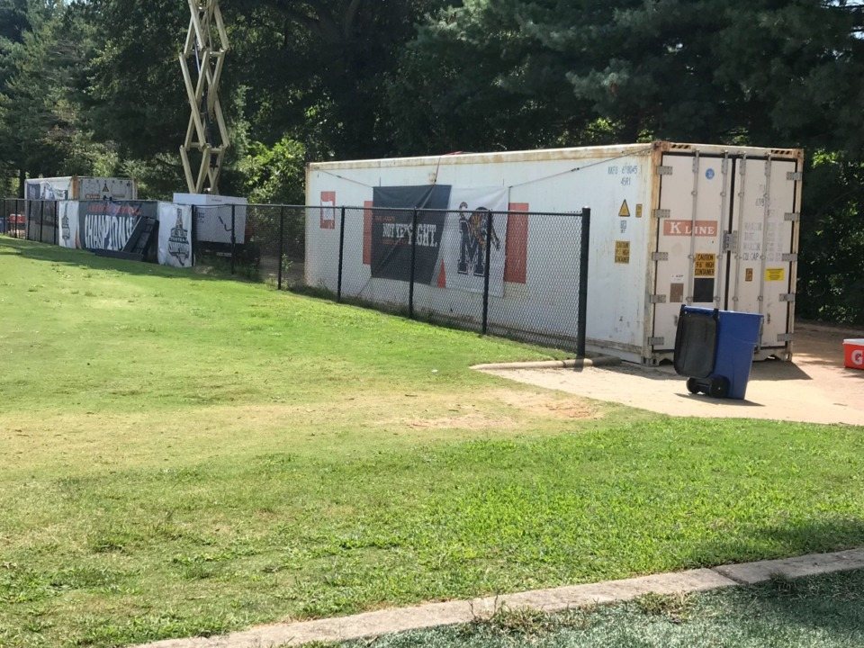 """<strong>The University of Memphis football team provided a new method of cooling players on Tuesday with the arrival of a pair of 40-foot trailers called """"body recovery zones,"""" with an interior temperature of 18 degrees to combat the 90-plus temperatures during practice.</strong> (Jonah Jordan/Daily Memphian)"""