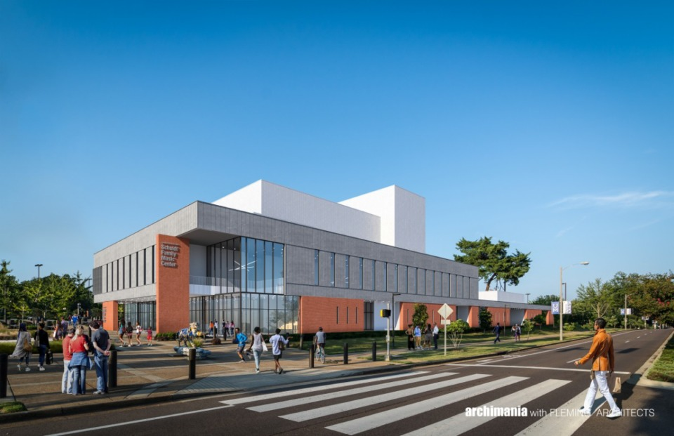 <strong>Work should start on the Scheidt Family Music Center before Christmas.</strong> (Rendering courtesy of University of Memphis)