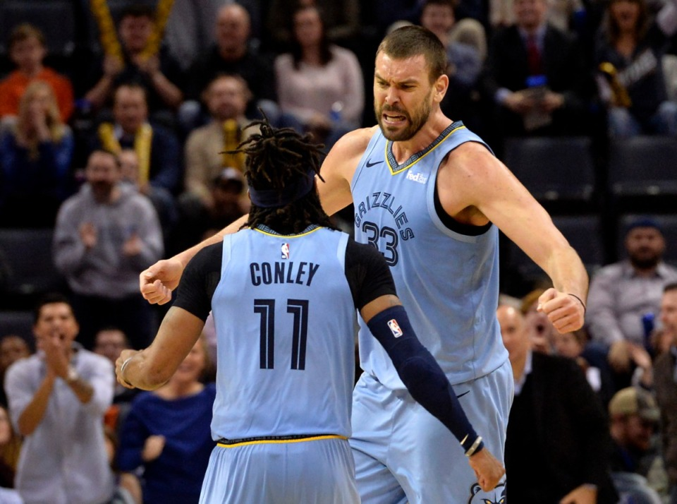 <strong>Memphis Grizzlies center Marc Gasol (33) and guard Mike Conley (11) react in the second half of an NBA basketball game against the Indiana Pacers Jan. 26, 2019.</strong>&nbsp;(AP Photo/Brandon Dill)