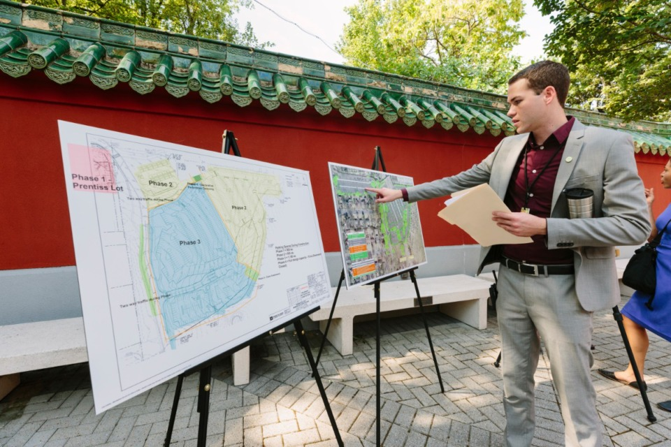<strong>Memphis Zoo Marketing &amp; PR Specialist Joseph Miner uses maps to speak on Phase 1 and future phases of permanently ending parking overflow into Overton Park Greensward on Aug. 21, 2019 at the Memphis Zoo.</strong> (Ziggy Mack/Special to The Daily Memphian)