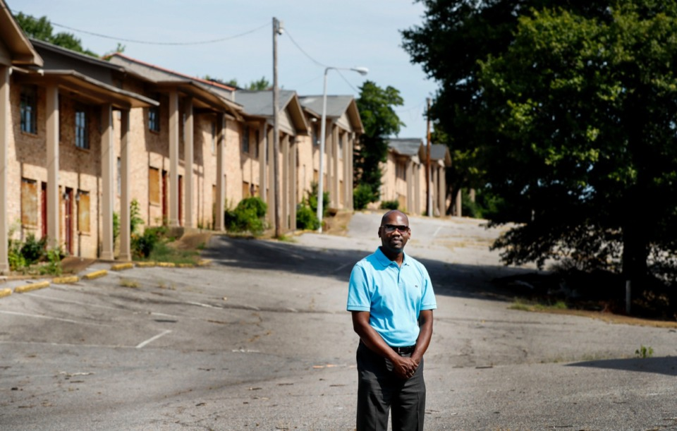 <strong>ComCap Partners project manager Quincy N. Jones stands in the soon-to-be renovated Renaissance at Steele Apartments project at 3085 Steele St. in Frayser Wednesday, Aug. 21. The redeveloped complex will offer 146 apartments and construction will begin in early October with a one-year completion date.</strong> (Mark Weber/Daily Memphian)