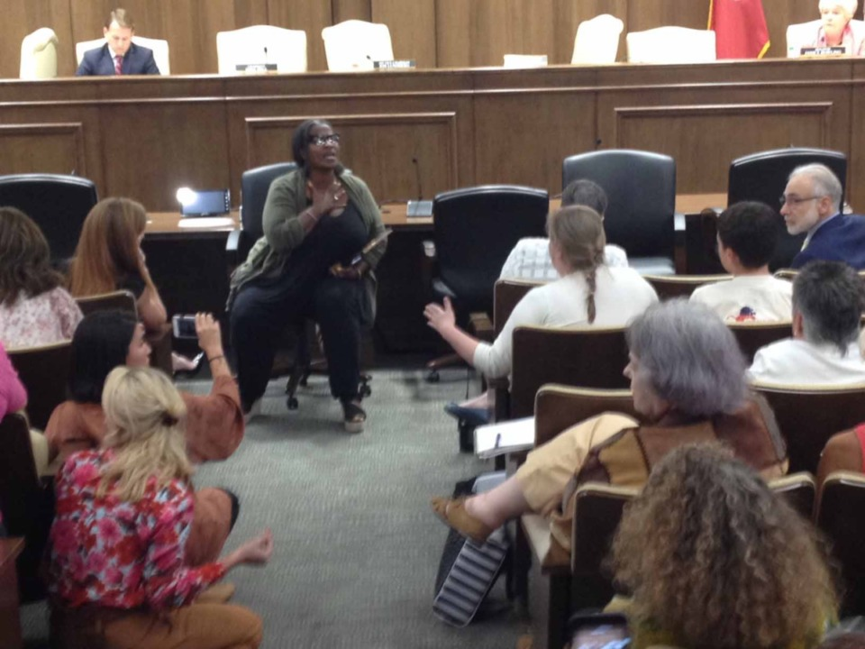 <strong>Cherisse Scott, CEO and founder of SisterReach, was gaveled to a stop halfway during her presentation at this Aug. 13 state Senate hearing on a proposed abortion bill and forcibly removed.</strong>&nbsp;<strong>Video of the vent has gone viral.</strong> (Sam Stockard/Daily Memphian)
