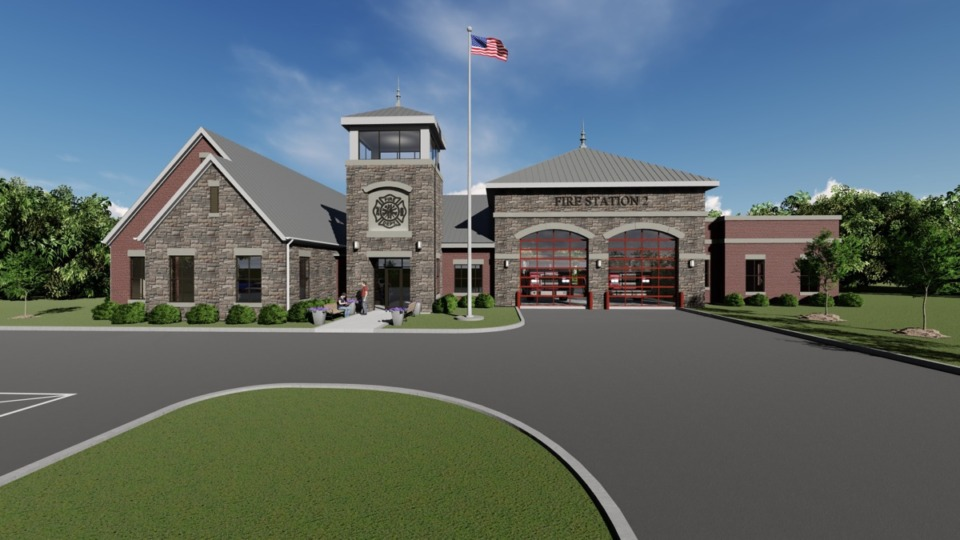<strong>An artist's rendering shows the projected new Arlington Fire Department station, which will be the second in the department's 70-year history. Construction is anticipated to begin in October.&nbsp;</strong>(Courtesy Arlington Fire Department)