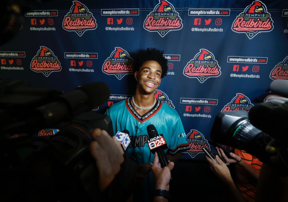 <strong>Grizzlies rookie Ja Morant threw out the ceremonial first pitch Thursday at AutoZone Park before a Redbirds game, and seemed to already be the face of the franchise.</strong> (Mark Weber/Daily Memphian)