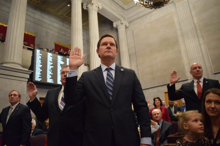 <span><strong>Rep. Cameron Sexton takes the oath of office on the first day of the 111th Tennessee General Assembly in January. On Friday, the Crossville Republican was elected the new leader of the House of Representatives during a special legislative session ordered by Gov. Bill Lee.</strong> (Photo courtesy of the House Republican Caucus)</span>