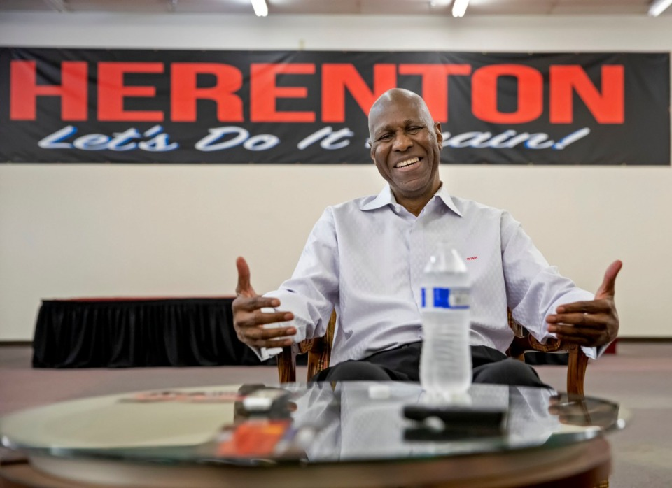 <strong>Former Memphis Mayor Willie Herenton talks with reporters after a Women for Herenton campaign event on Aug. 24, 2019, at his campaign headquarters at 3358 S. Third St.</strong> (Mike Kerr/Special to The Daily Memphian)