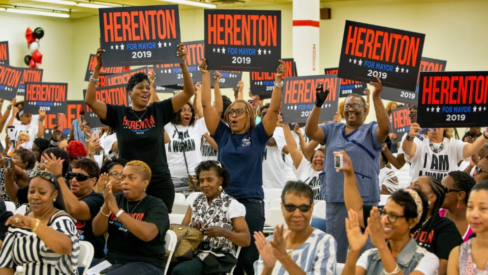 <strong>Supporters cheer and wave signs as former Memphis Mayor Willie Herenton is introduced at a Women for Herenton campaign event on Aug. 24, 2019, at Herenton's campaign headquarters at 3358 S. Third St.</strong> (Mike Kerr/Special to The Daily Memphian)
