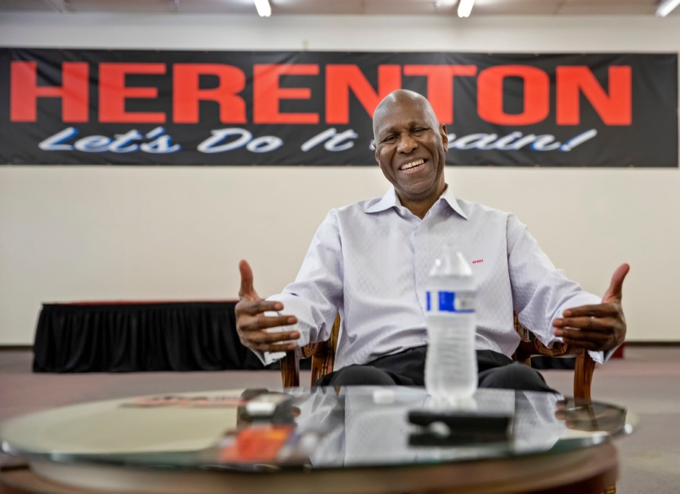 <strong>Former Memphis Mayor Willie Herenton talked with reporters after a Women for Herenton campaign event Saturday at his headquarters at 3358 S. Third St.</strong> (Mike Kerr/Special to The Daily Memphian)