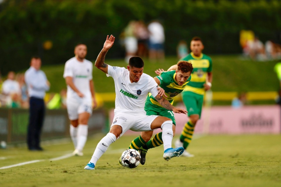 <strong>Pierre Da Silva's efforts Saturday night in Florida weren't enough to save 901 FC.</strong> (Photo courtesy 901 FC)