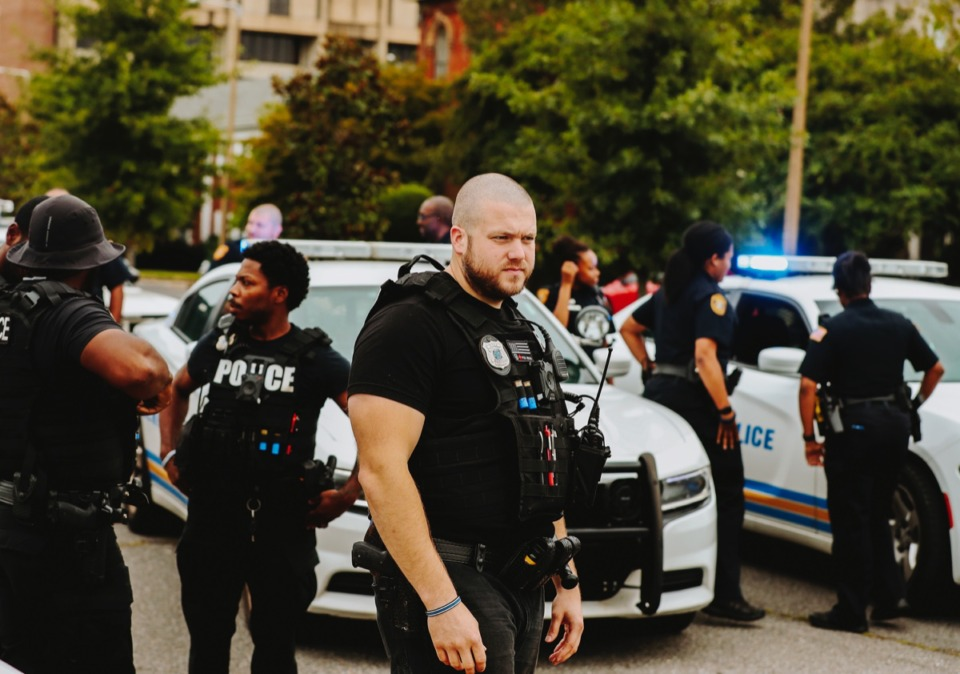 <strong>Memphis police officers block off Jefferson during one of the protests in September of last year following the shooting by police of Martavious Banks during a traffic stop on Sept. 17, 2018.</strong> (Daily Memphian file)