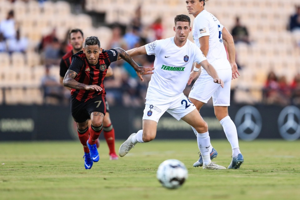 <strong>Josh Morton (right) and Memphis 901 FC defeated Atlanta 2-1 Wednesday, Aug. 28, to end a three-game losing streak.</strong> (Courtesy 901 FC) &nbsp; Photo credit is from 901 FC