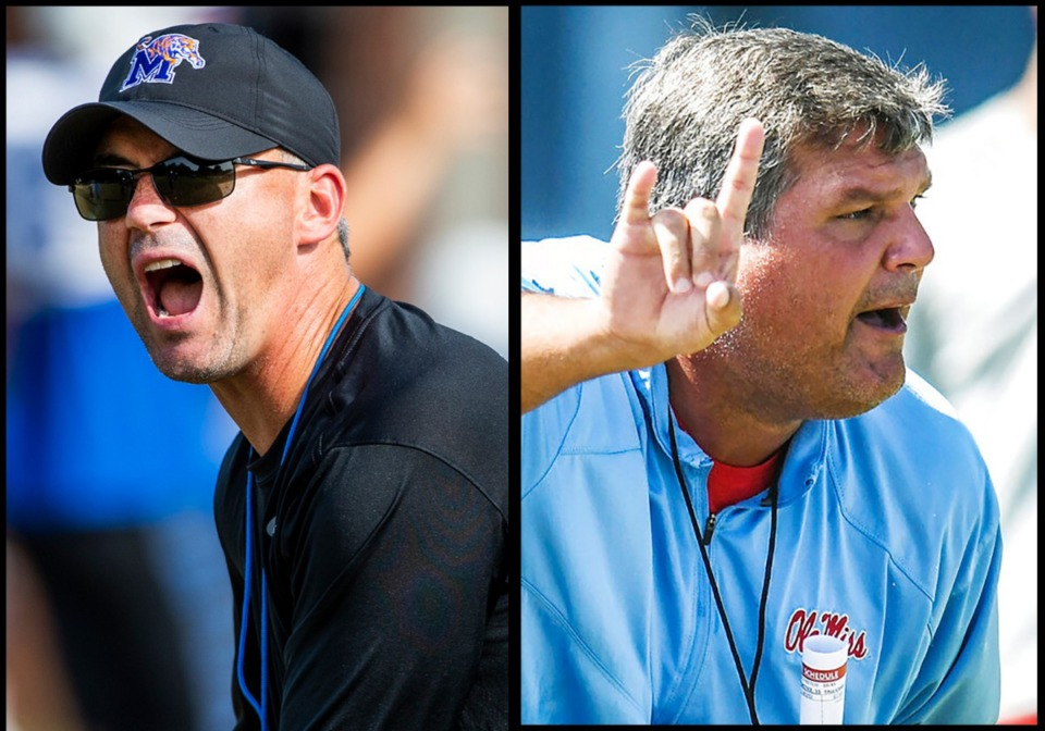 <strong>The Memphis Tigers and coach Mike Norvell (left) meet the Ole Miss Rebels and coach Matt Luke on Saturday in the season opener for what could be the last game between them.</strong> (Daily Memphian and Associated Press file photos)