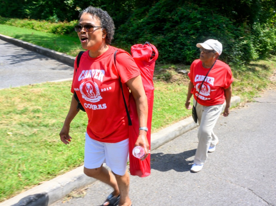<strong>Janice Spearman, front, and Lucille Graham, both from the Carver High School class of 1969 look for their former classmates at Martin Luther King Park Saturday.</strong> (Greg Campbell/Special to The Daily Memphian)