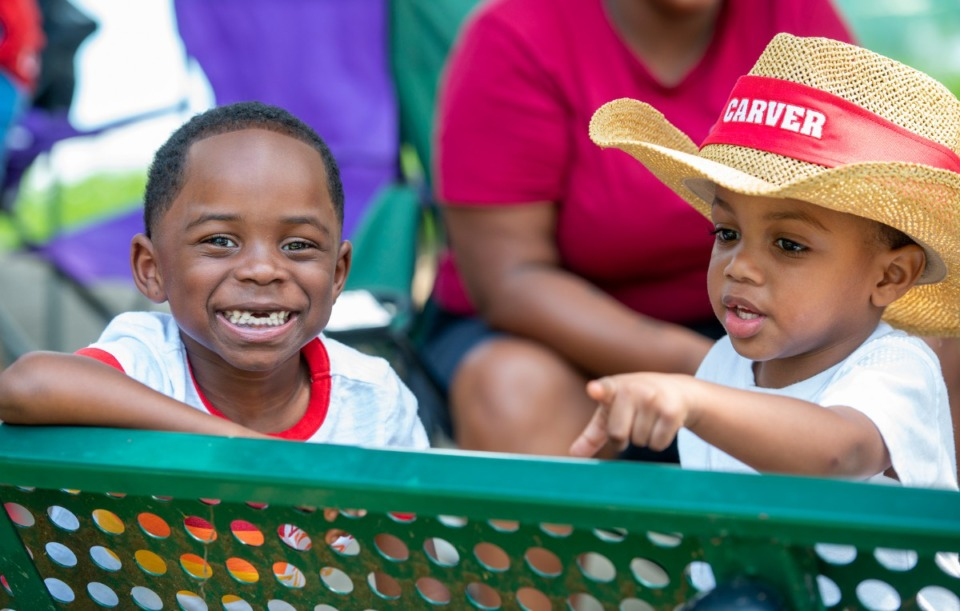 <strong>Chase Temple, 5, left, and A'Derin Steward, 2, take in the celebration Saturday at Martin Luther King Park.</strong> (Greg Campbell/Special to The Daily Memphian)