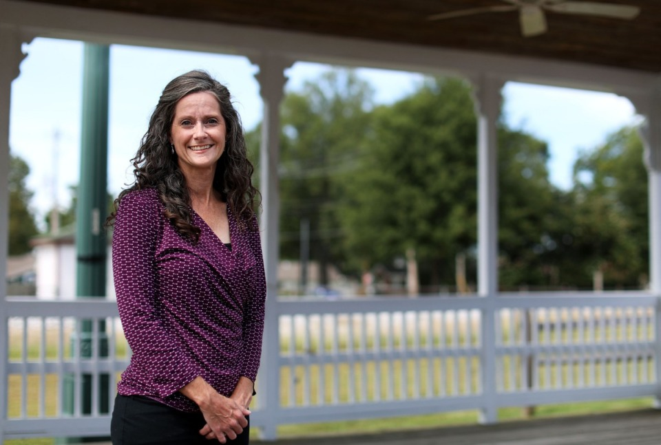 <strong>Alderwoman Cheryl Pardue, who is running for mayor of Arlington against incumbent Mike Wissman, stands in the Historic Depot Square on Aug. 30, 2019. Pardue says she sees managing growth and the budget as the biggest challenges over the next four years.</strong>(Patrick Lantrip/Daily Memphian)