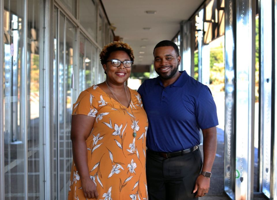 <strong>Mary and Ken Olds stand outside of what will be Muggin' Coffeehouse, which will serve tea, coffee and pastries, at 1139 Brownlee Road in Whitehaven. </strong>(Patrick Lantrip/Daily Memphian)