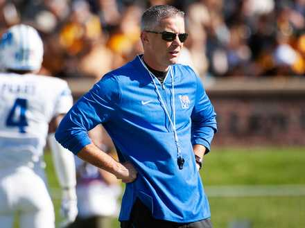<strong>University of Memphis head coach Mike Norvell watches his team warm up before the Oct. 20, 2018, game against Missouri in Columbia.</strong> (AP Photo/L.G. Patterson)