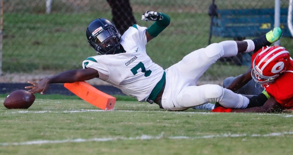 <strong>Cordova running back Brandon Mackey is taken out of bounds while reaching for a touchdown against Germantown Aug. 30. The Wolves (2-0) take on undefeated South Panola this week.</strong> (Mark Weber/Daily Memphian)