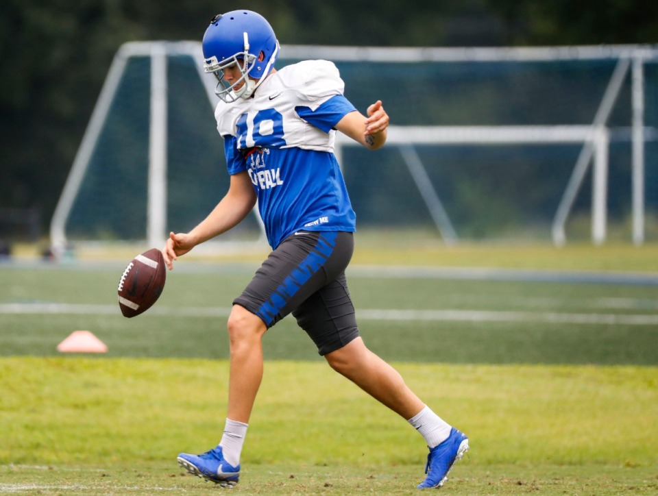 <strong>University of Memphis punter Adam Williams practices during an Aug. 23 workout.</strong> (Mark Weber/Daily Memphian)
