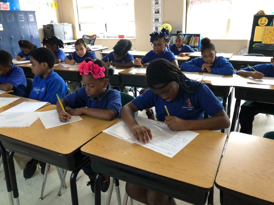 <strong>Almost one-third of Cornerstone Prep Denver's students scored proficient on state math exams, almost a 50% increase over the previous year.</strong> (Caroline Bauman/Chalkbeat)