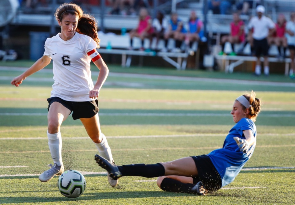 <strong>Houston forward Madeline Eskin (left) moves the ball around charging ECS goalie Bryn Todd (right) Thursday, Sept. 5.</strong> (Mark Weber/Daily Memphian)