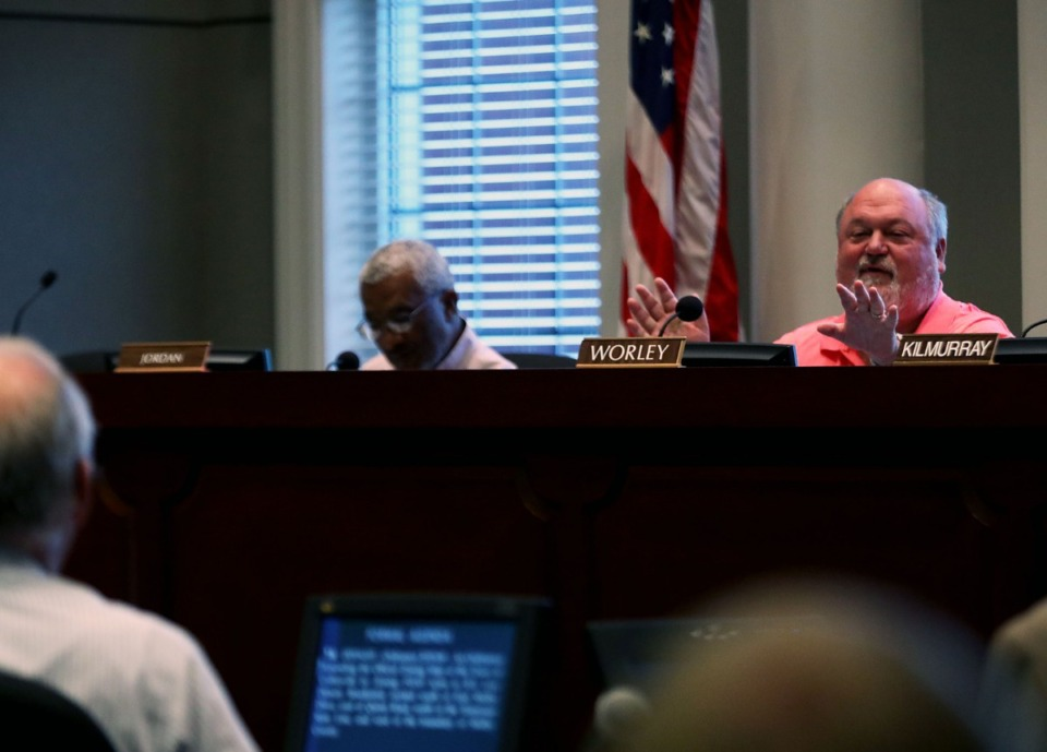 <strong>Alderman John Worley addresses a town of Collierville employee during a Thursday, Sept. 5, 2019, planning commission meeting held in Collierville's town hall.</strong> (Patrick Lantrip/Daily Memphian)