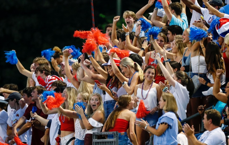 <strong>MUS students celebrate a touchdown against CBHS Friday, Sept. 5.</strong> (Mark Weber/Daily Memphian)