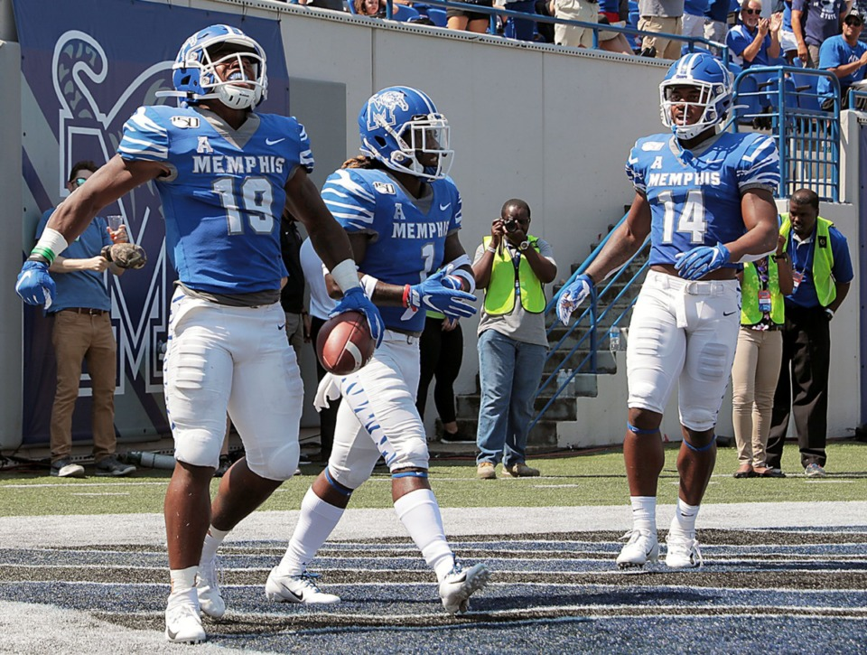 <strong>University of Memphis running back Kenneth Gainwell (19) celebrates with his teammates after ripping off a long touchdown run in the first half of the Tigers game against Southern University&nbsp;at Liberty Bowl Memorial Stadium on Saturday, Sept. 7, 2019.</strong> (Patrick Lantrip/Daily Memphian)