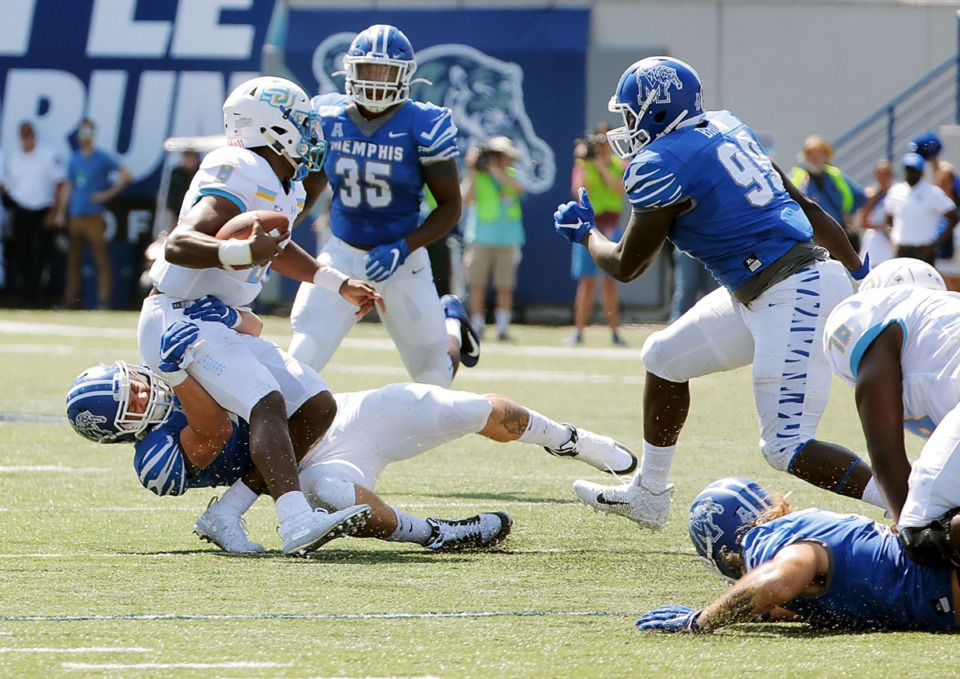 <strong>University of Memphis defensive end Cole Mashburn (46) sacks Southern University quarterback Ladarius Skelton (8) during the first half of the Tigers' 55-24 victory over Southern University&nbsp;at Liberty Bowl Memorial Stadium on Saturday, Sept. 7, 2019.</strong> (Patrick Lantrip/Daily Memphian)