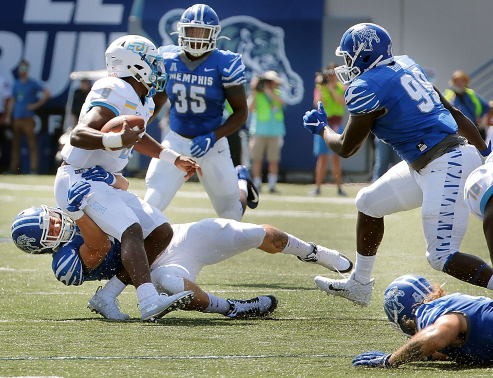 <strong>University of Memphis defensive end Cole Mashburn (46) sacks Southern University quarterback Ladarius Skelton (8) during the first half of the Tigers' 55-24 victory over Southern University&nbsp;at Liberty Bowl Memorial Stadium on Saturday, Sept. 7, 2019. </strong>&nbsp;(Patrick Lantrip/Daily Memphian)