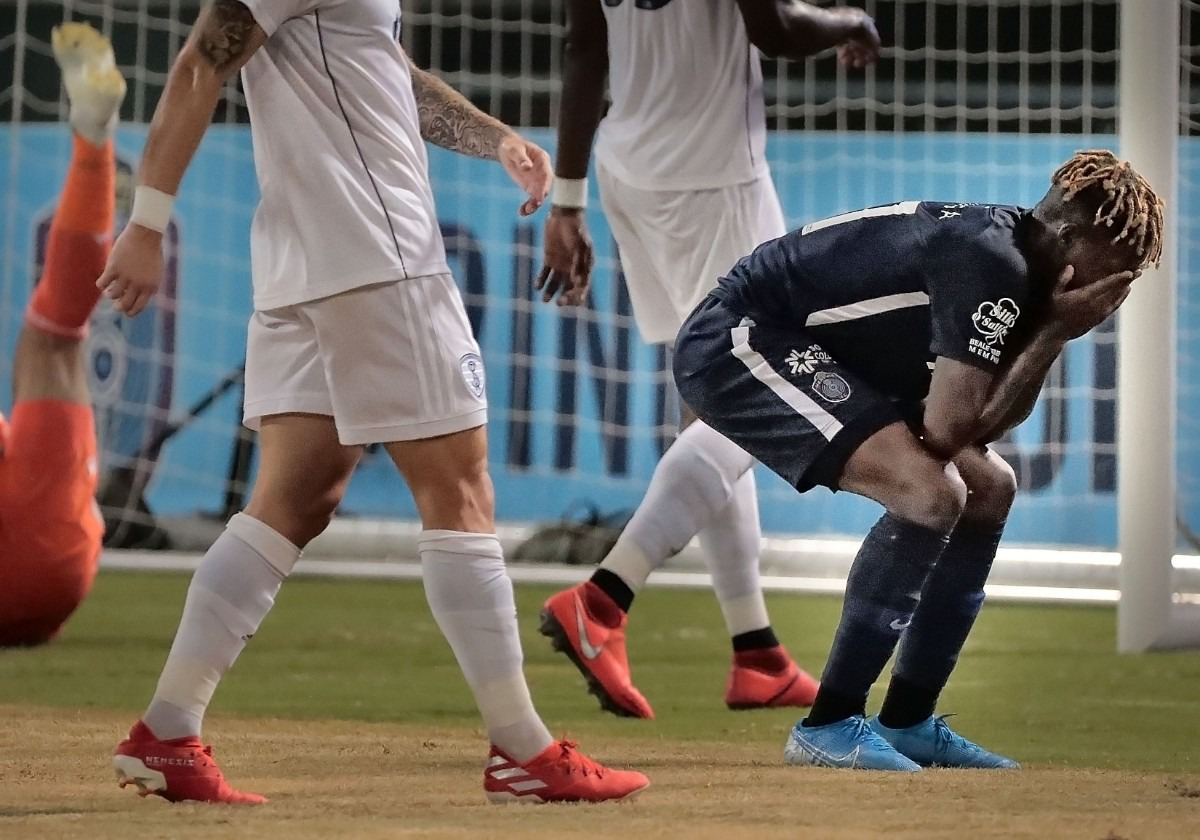 <strong>Memphis forward Lagos Kunga reacts after missing a shot against the Rangers during 901 FC's 4-2 win over Swope Park at AutoZone Park on Sept. 7, 2019.</strong> (Jim Weber/Daily Memphian)