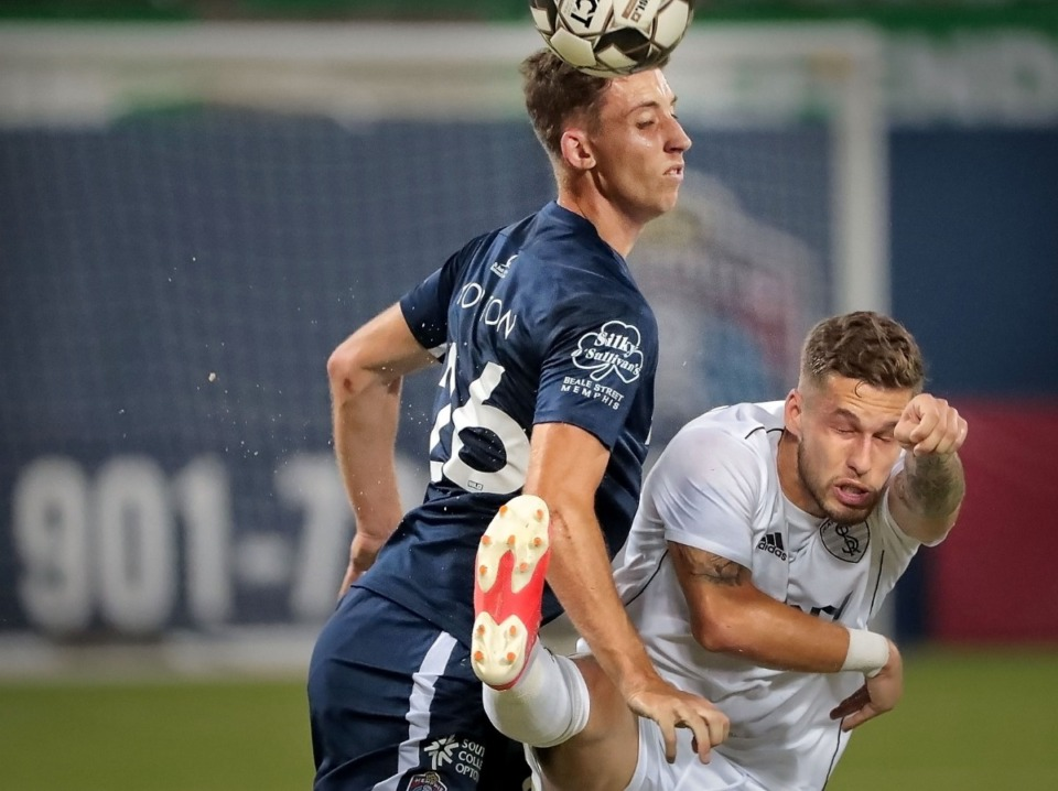 <strong>Memphis defender Josh Morton puts pressure on the Rangers' Ze Pedro during 901 FC's 4-2 win over Swope Park at AutoZone Park on Sept. 7, 2019.</strong> (Jim Weber/Daily Memphian)