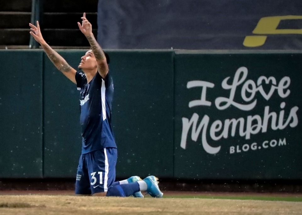 <strong>Memphis midfielder Pierre Da Silva celebrates after a score during 901 FC's 4-2 win over Swope Park at AutoZone Park on Sept. 7, 2019.</strong> (Jim Weber/Daily Memphian)