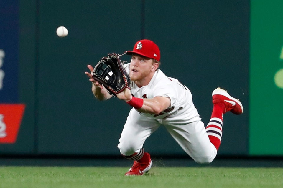 <strong>St. Louis Cardinals center fielder Harrison Bader dives for and catches a fly ball by San Francisco Giants' Mauricio Dubon to end the top of the eighth inning of a baseball game Tuesday, Sept. 3, 2019, in St. Louis.</strong> (AP Photo/Jeff Roberson)