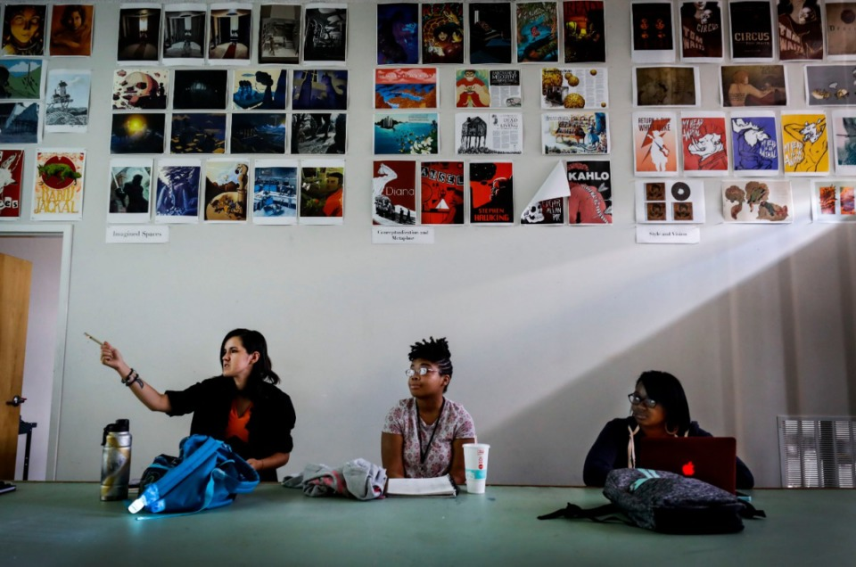 <strong>Seniors (left to right) Alex McBride, Venkay Polk and Anastasia Hollimon discuss course work in animation during the first week of classes in August. Memphis College of Art will close after a final graduation in&nbsp; May of 2020.</strong> (Mark Weber/Daily Memphian)