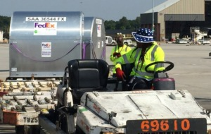 <strong>FedEx workers load a Boeing 757 with relief supplies and equipment bound for the Bahamas on Monday morning, Sept. 9, 2019.</strong>&nbsp;(Wayne Risher/Daily Memphian)