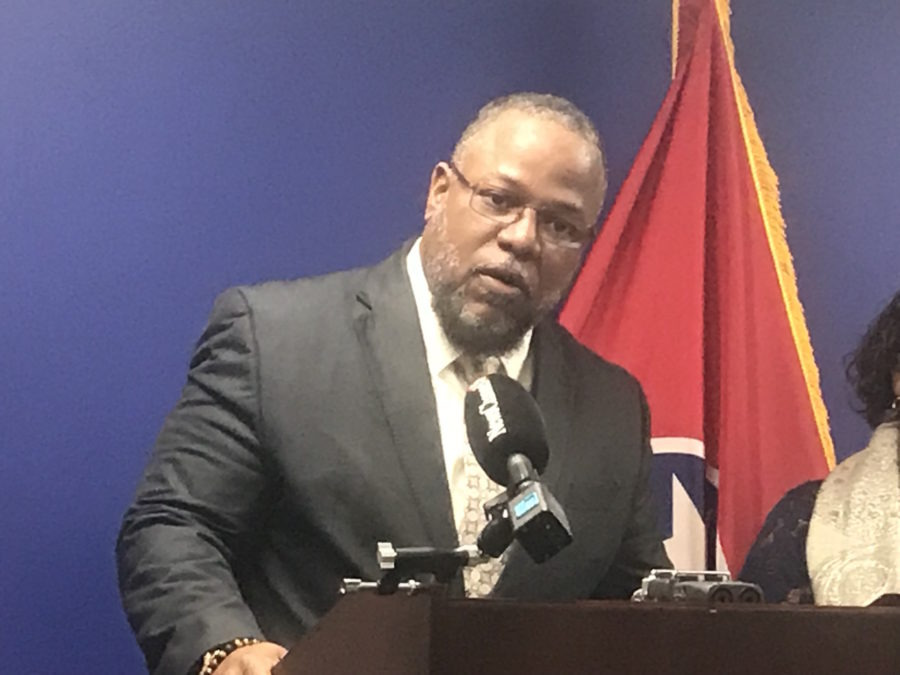 "<div class=""img-wrapper""> <div class=""img-credit""></div> </div> <div class=""wp-caption-text""><strong>Rep. Antonio Parkinson speaks at a press conference at the state Capitol in April. On Thursday, the Memphis Democrat criticized the state Education Department's guidance to school districts for informing parents that certain student groups in their schools are underperforming.</strong> (<span>Marta W. Aldrich/Chalkbeat)</span></div>"