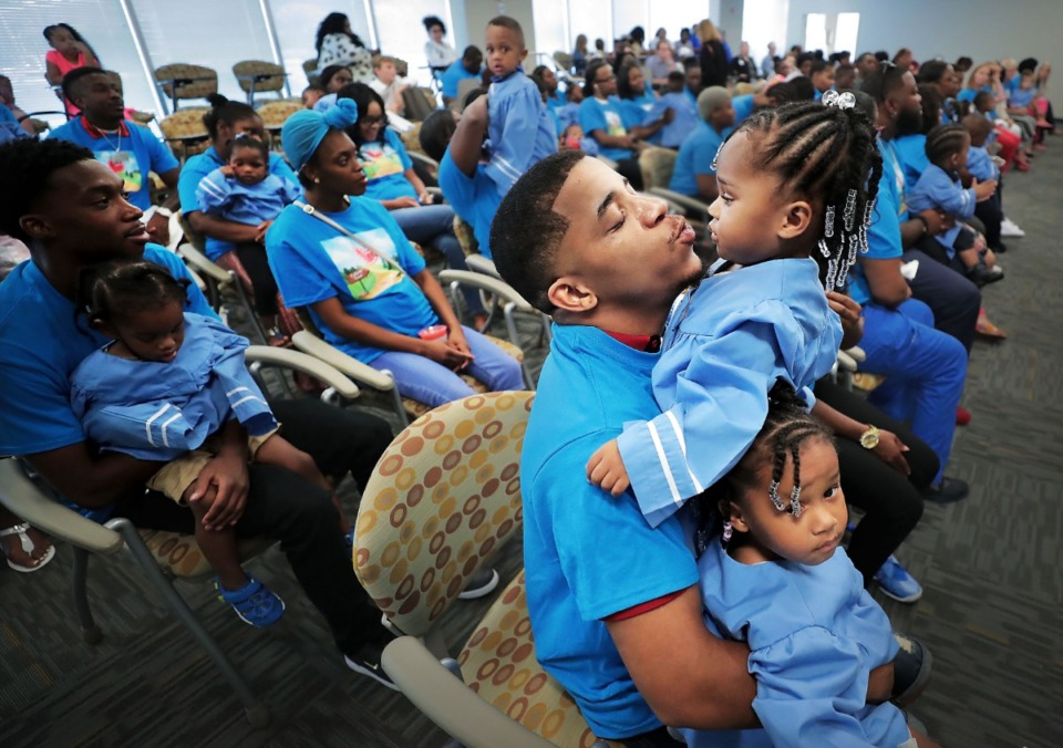 <strong>Kevin Broady tries to keep his twin one-year-old girls Serenity Broady and Kennedi Broady (right) entertained during a graduation ceremony for parents and kids in Le Bonheur's Nurse-Family Partnership at the hospital's community outreach center on Aug. 2, 2019. The program connects nurses with first-time pregnant mothers to guide them through early child development.</strong> (Jim Weber/Daily Memphian)