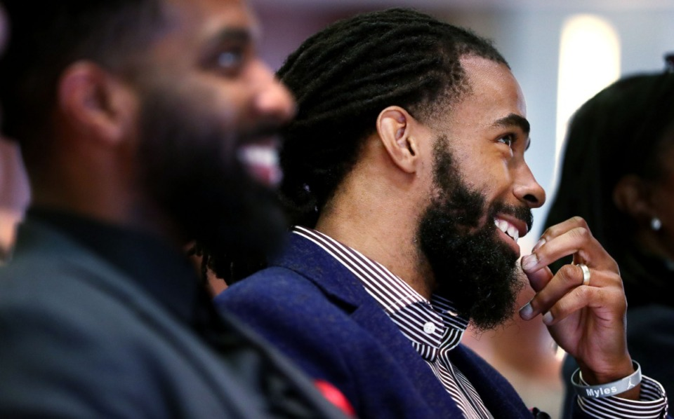 <strong>Mike Conley watches a video prior to his announcement that he will be donating $500,000 to Methodist Healthcare's efforts to treat patients with sickle cell disease in April 2019. Conley's annual Bowl-N-Bash to raise awareness of sickle cell disease is Sept. 14&nbsp;</strong>&mdash;&nbsp;<strong>the 11th and final year for the event as the former Grizzlies point guard moves on to Utah.</strong> (Houston Cofield/Daily Memphian)